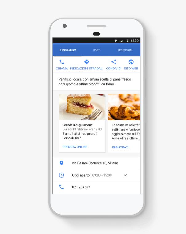 Scheda prodotti Google My Business